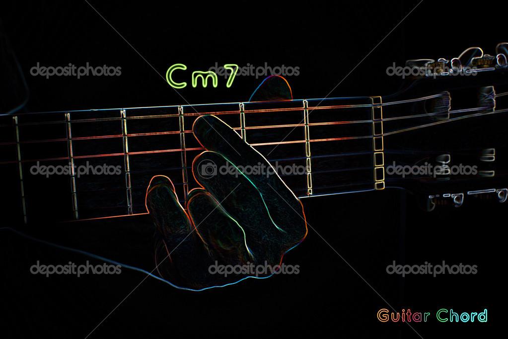 Guitar chord on a dark background — Stock Photo © mpavlov #39912191