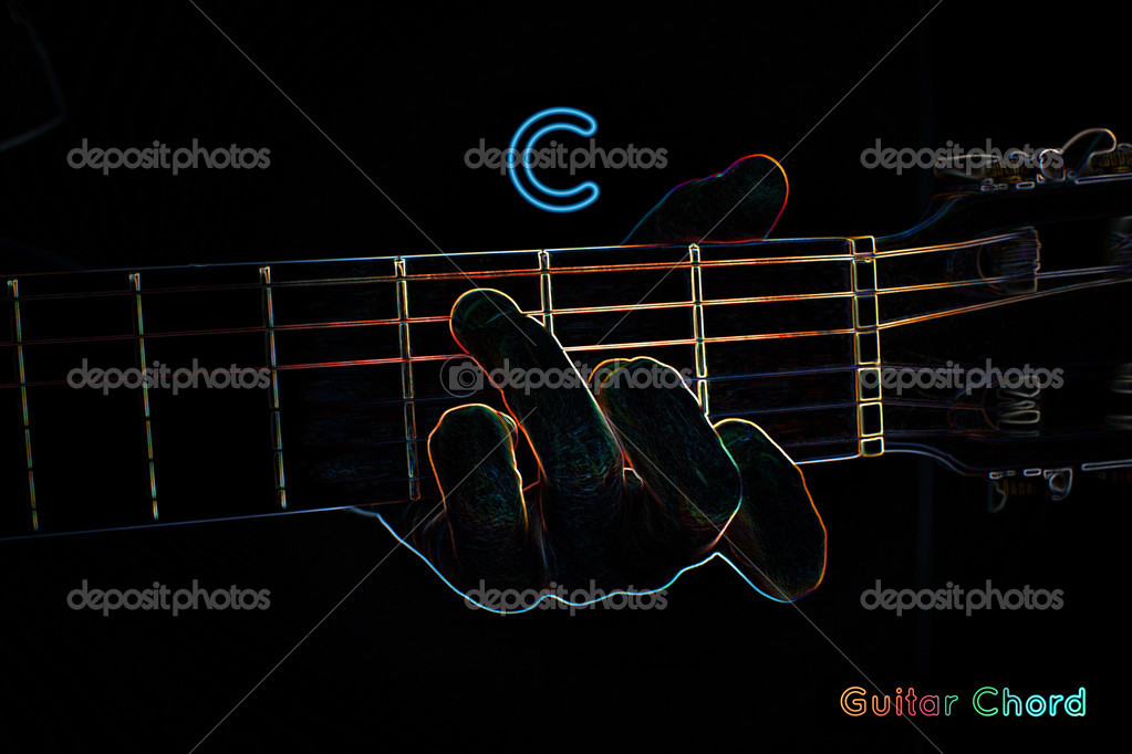 Guitar Chord On A Dark Background Stock Photo Mpavlov 39912469