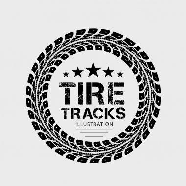Tire tracks. Vector illustration on grey background stock vector