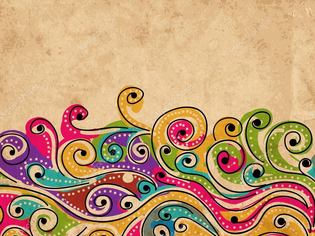 Astratto Sfondo Pallavolo Disegno Vettoriale: Onda A Mano Modello Disegnato Per Il Vostro Disegno