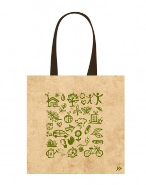 Paper bags with green ecological icons design
