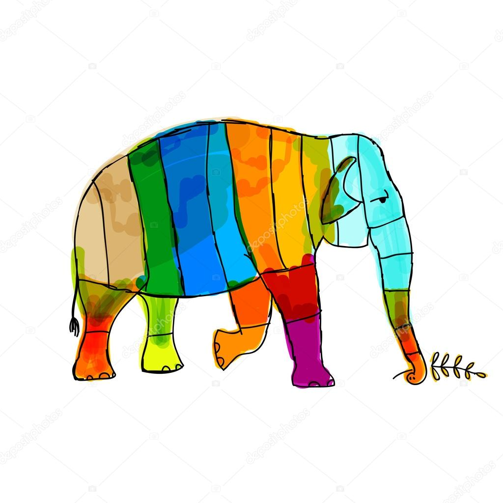 Funny striped elephant for your design