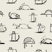 Photo Funny cats sketch, seamless pattern for your design