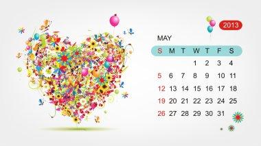 Vector calendar 2013, may. Art heart design