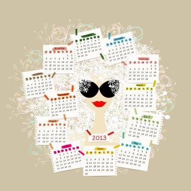 Woman portrait, calendar 2013 concept for your design