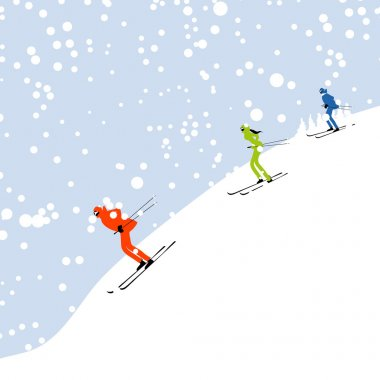 skiing, winter mountain landscape for your design