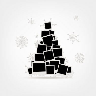 Christmas tree design made from photo frames, insert your pictur