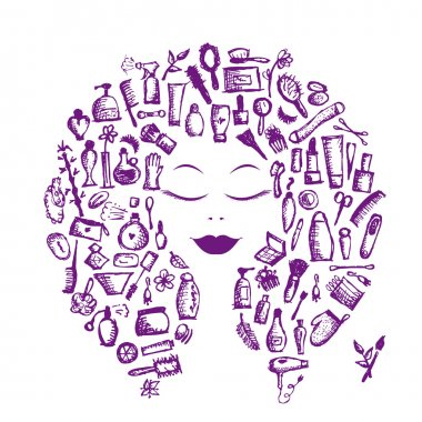 Cosmetic concept, female accessories on woman head for your design