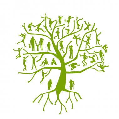 Family tree, relatives, silhouettes