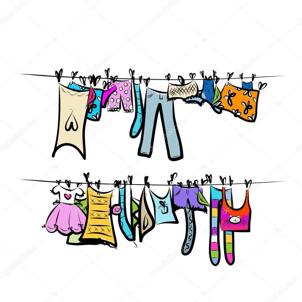 Kinderkleidung auf wäscheleine  auf der Wäscheleine. Skizze für Ihr design — Stockvektor #25197783
