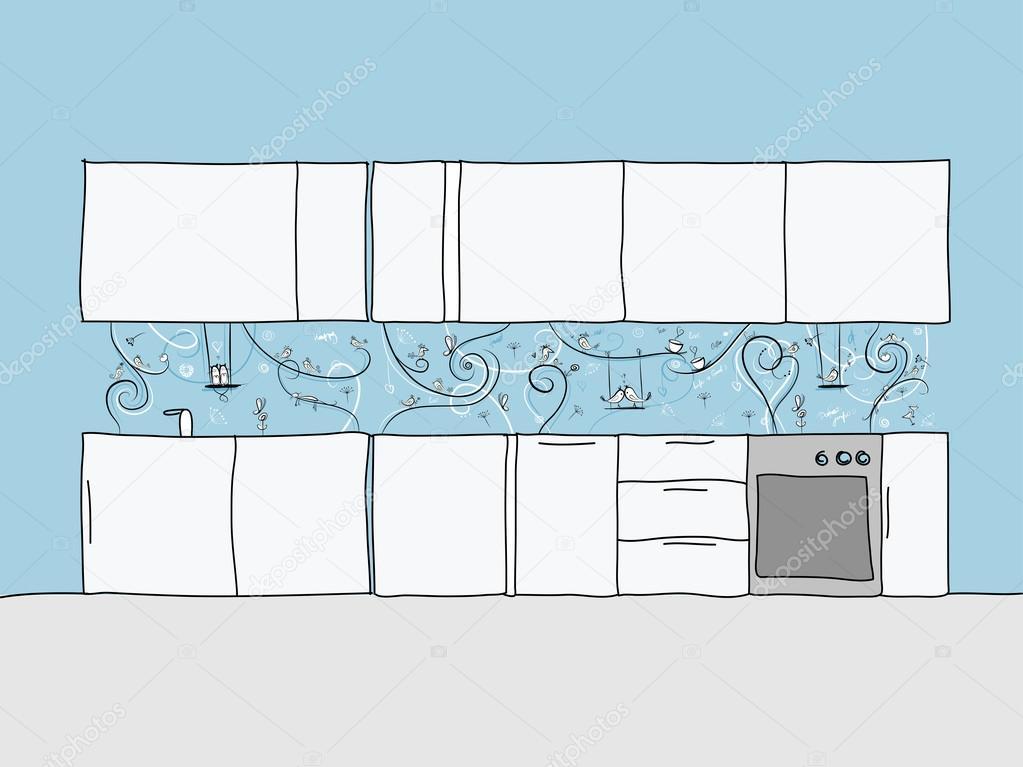 Gestaltung der Küchenwand mit lustigen Vögeln und Katzen ...