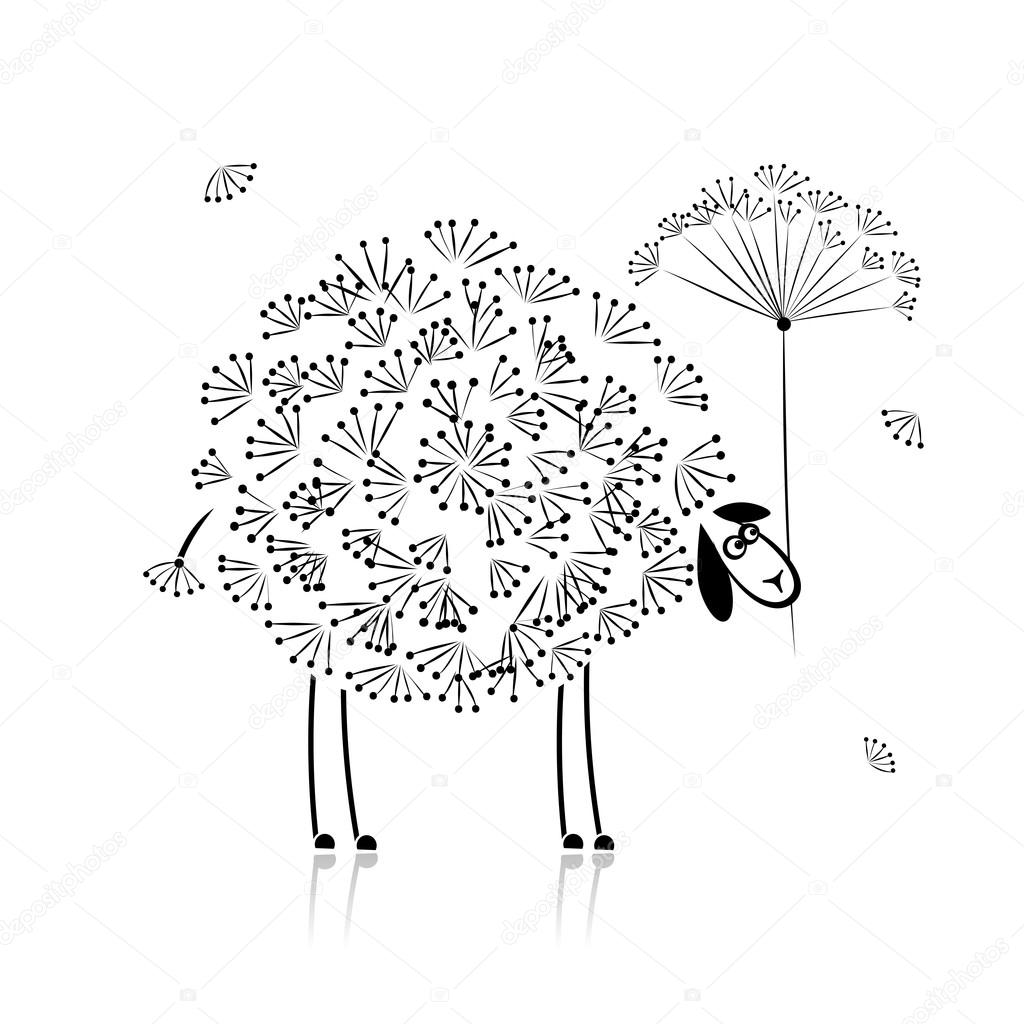 funny sheep sketch for your design stock vector 29111121