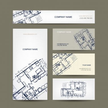 Sketch of apartment. Business cards for your design.