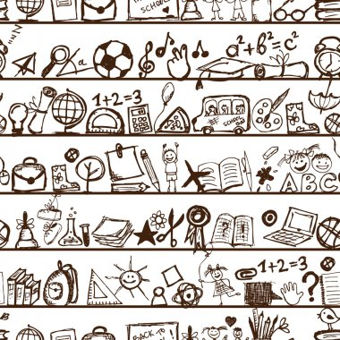 School hand drawn pattern for your design