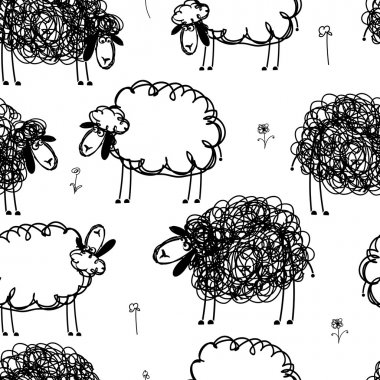 Black and white sheeps on meadow, seamless pattern for your design