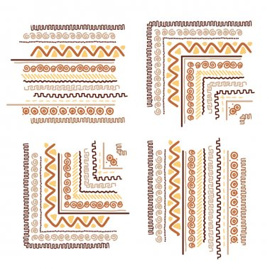 Design elements with ethnic handmade ornament