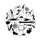 Fotografia set di sagoma 20 animali, nero per il vostro disegno