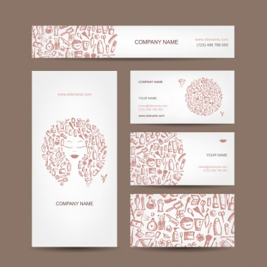 Business cards design, cosmetics and accessories