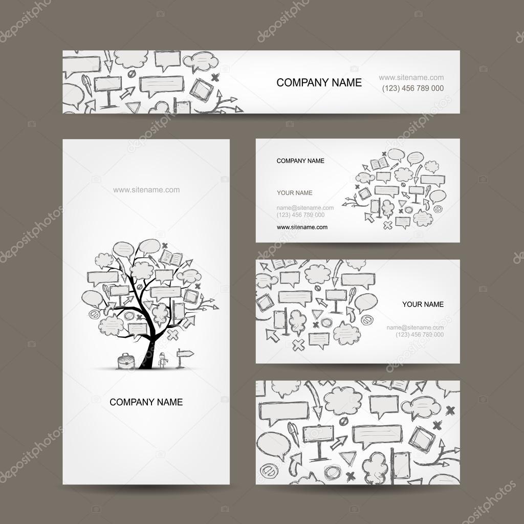 Visitenkarten-Kollektion mit Rahmen-Baum-design — Stockvektor ...