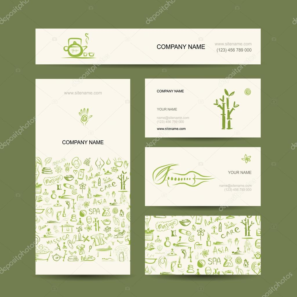 Business cards design, massage and spa concept — Stock Vector ...