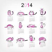 Kalendář 2014 s 12 legrační růžové kočky