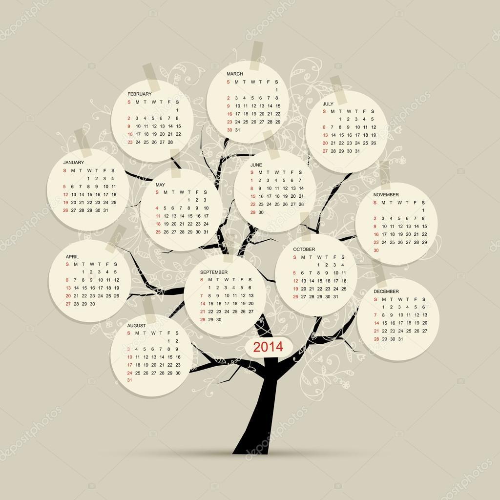 Calendar tree 2014 for your design