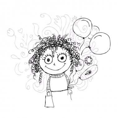 Curly girl sketch with balloons for your design