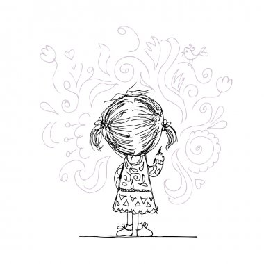 Girl draws flowers on the wall, sketch for your design stock vector