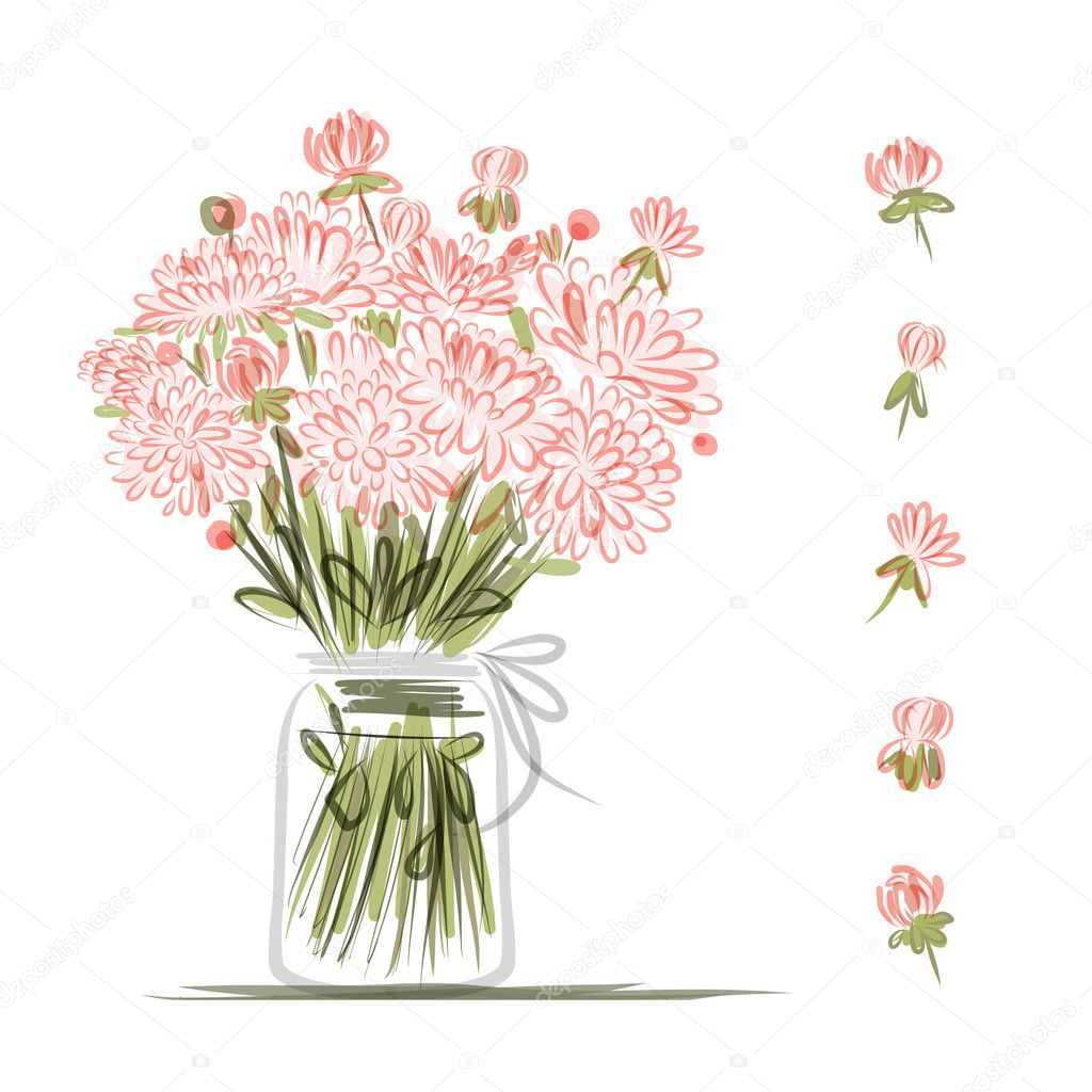 Vase with pink flowers, sketch for your design