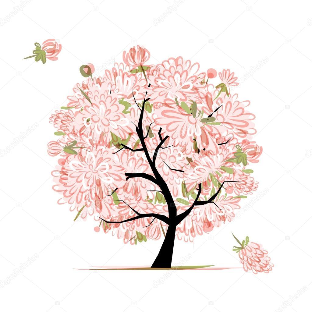 rosa blumen baum, skizze für ihr design — stockvektor © kudryashka