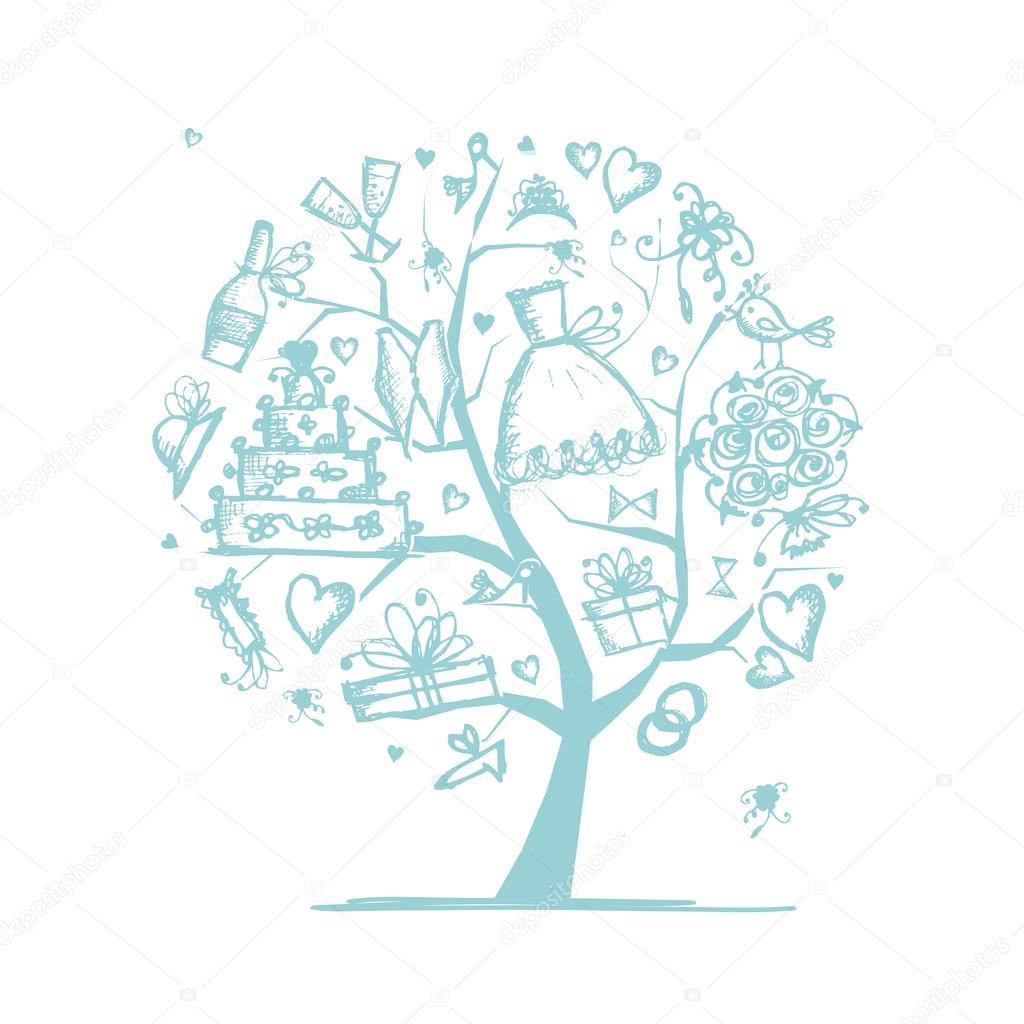 Wedding Tree Vector: Wedding Tree Concept For Your Design
