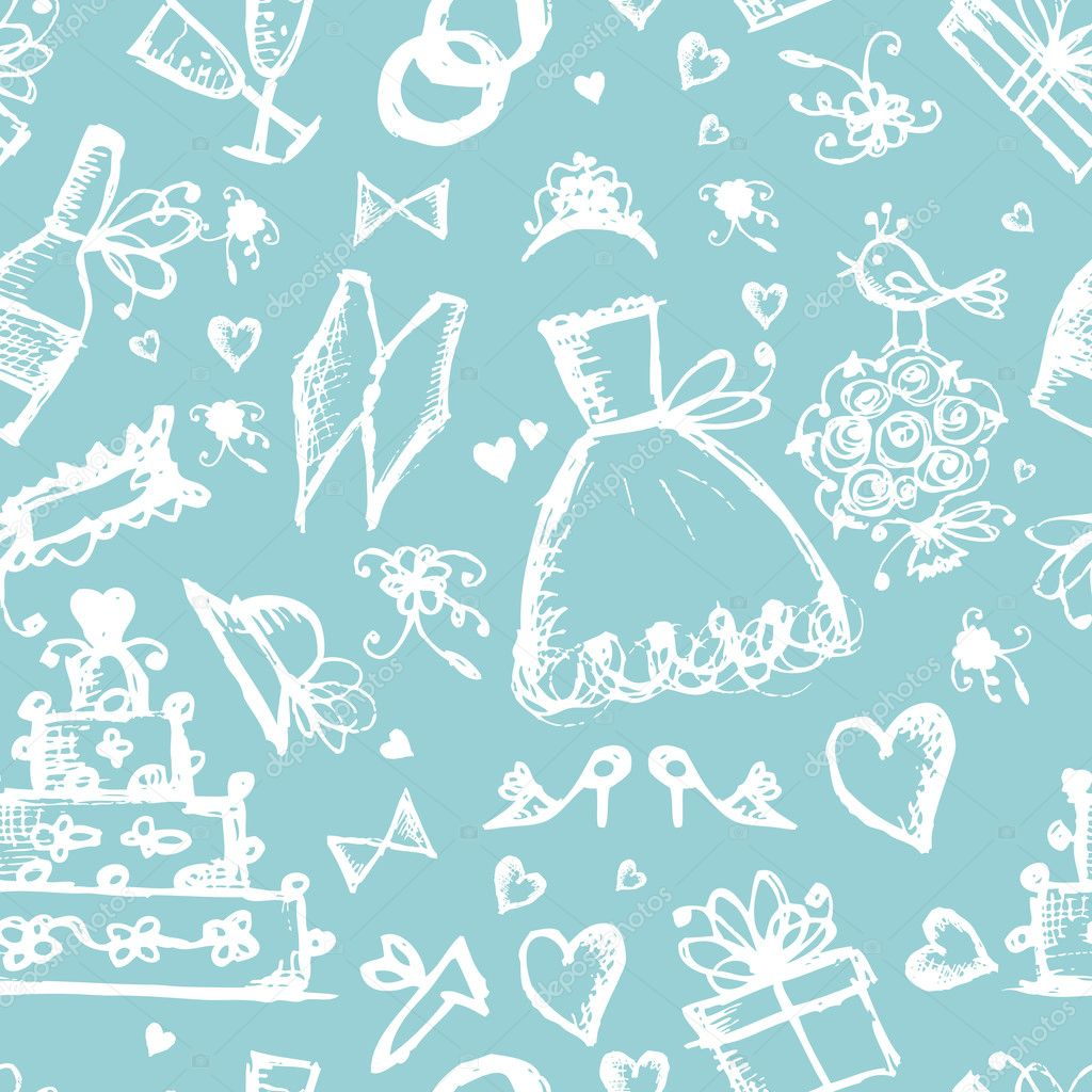 Seamless pattern with wedding design elements