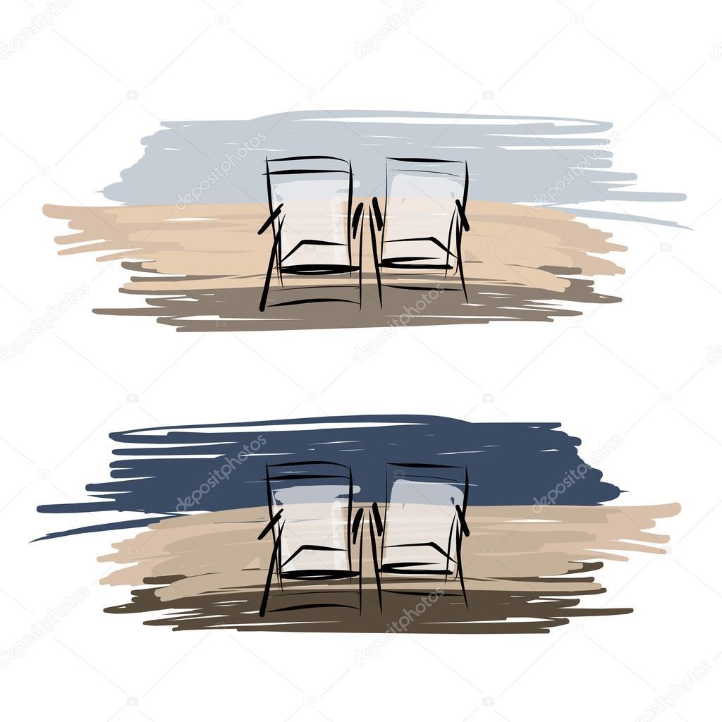 deux chaises longues sur la plage dessin pour la conception de