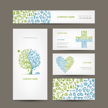 Business cards with medical objects for your design