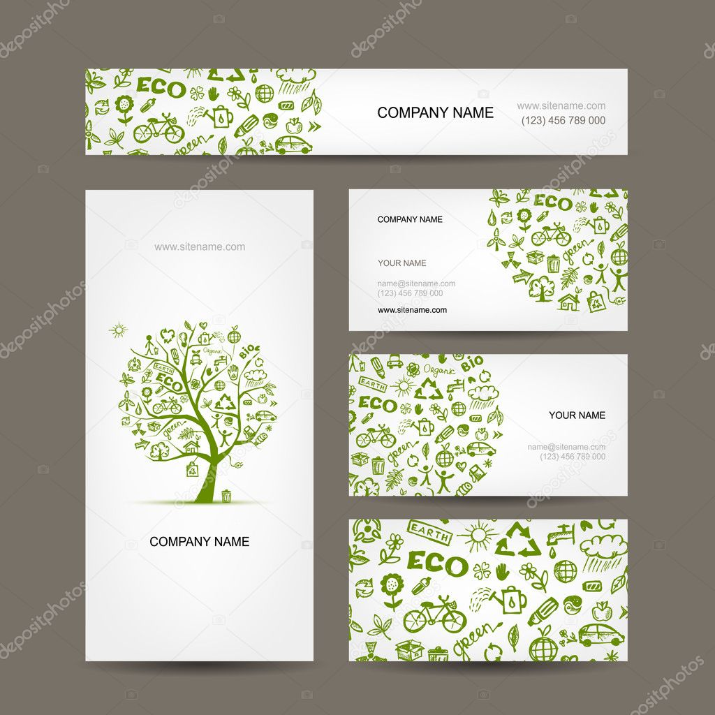 Business cards design, green ecology concept