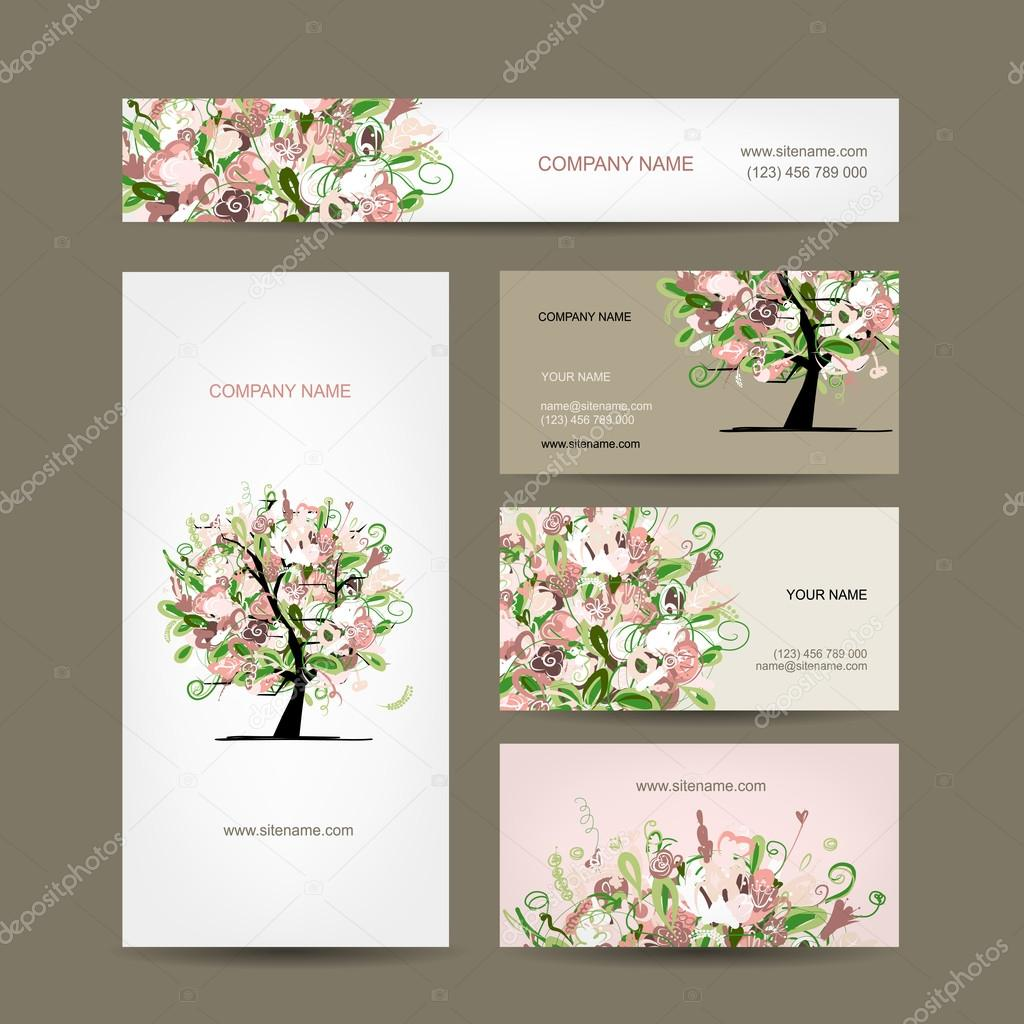 Business cards design with floral tree sketch — Stock Vector ...