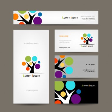 Business cards collection with abstract tree for your design