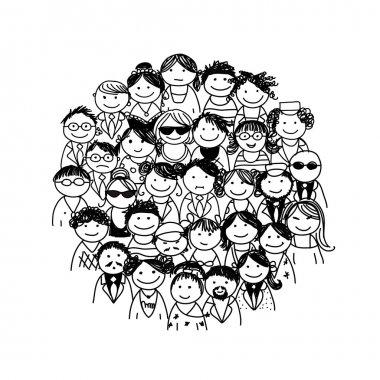 Group of people for your design stock vector