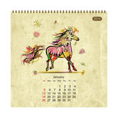 Fotografie Calendar 2014, january. Art horses for your design