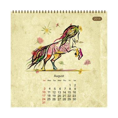 Calendar 2014, august. Art horses for your design