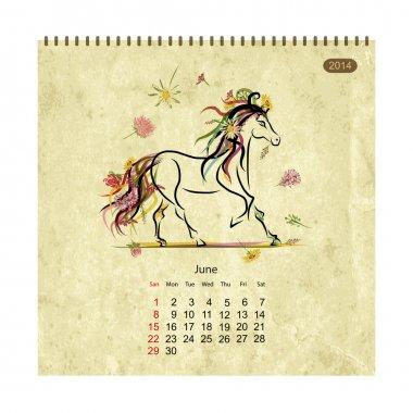 Calendar 2014, june. Art horses for your design