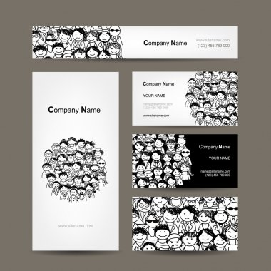 Business cards collection, people crowd design