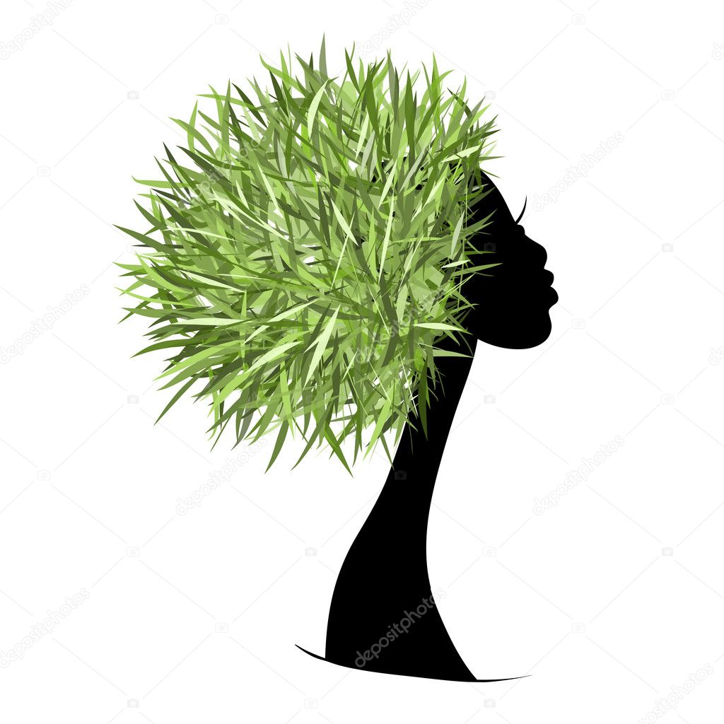 Organic hair care concept, female head for your design