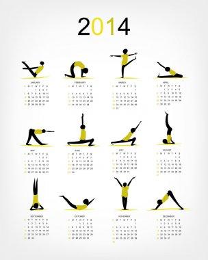 Yoga calendar 2014 for your design