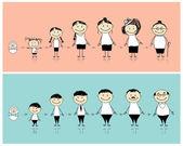 férfi és nő élete különböző szakaszaiban