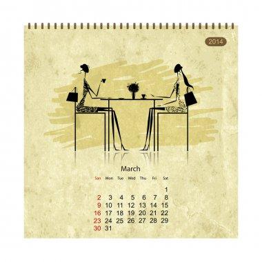 Girls retro calendar 2014 for your design