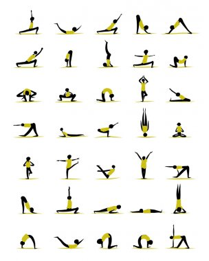 People practicing yoga, poses for your design