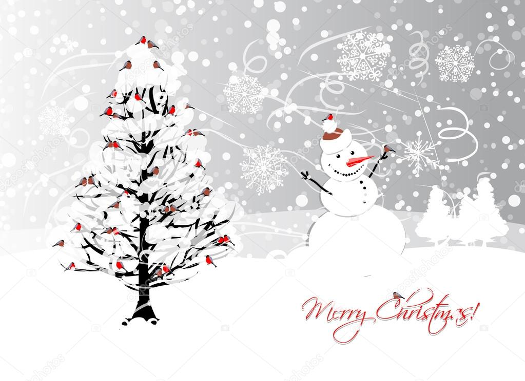 Christmas card design with winter tree and bullfinches