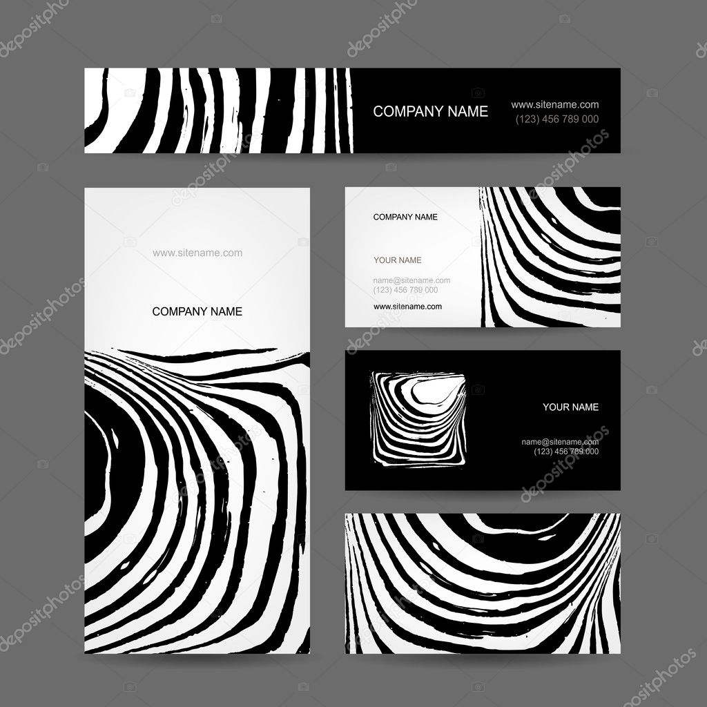 Set of abstract creative business cards, zebra print design — Stock ...