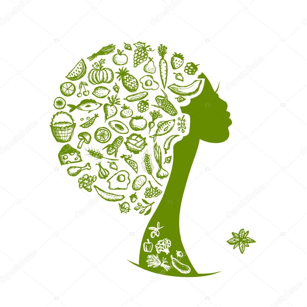 Healthy food concept, female head with vegetables